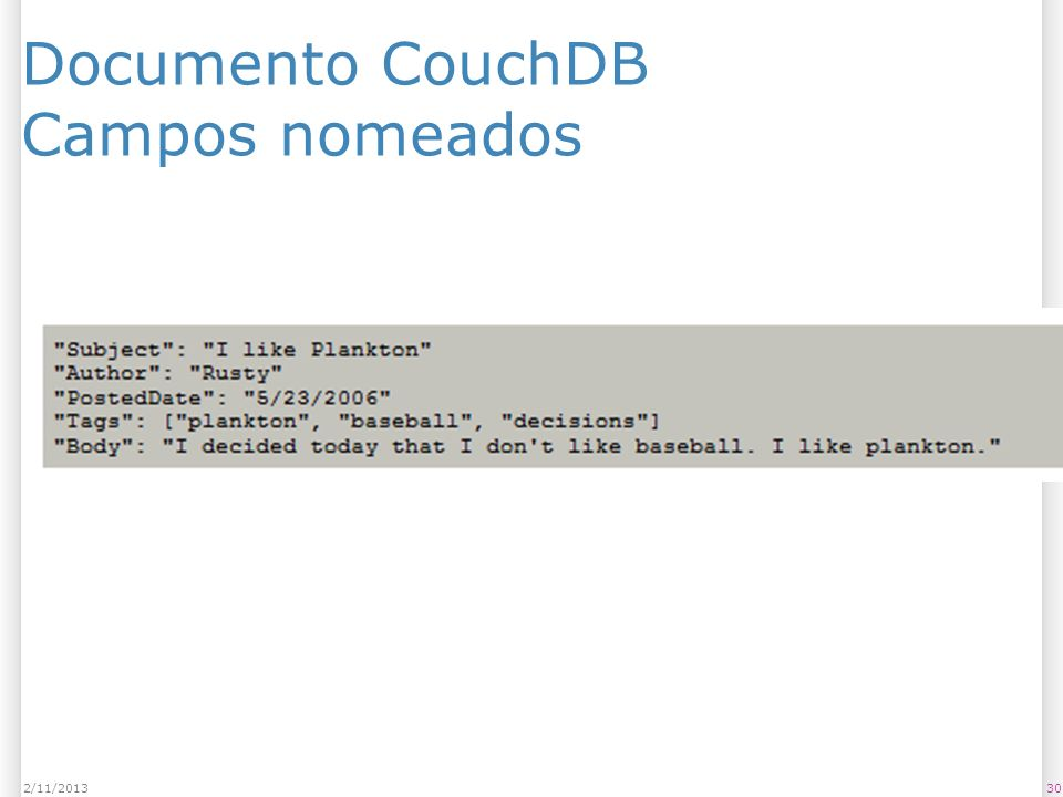 Documento CouchDB Campos nomeados