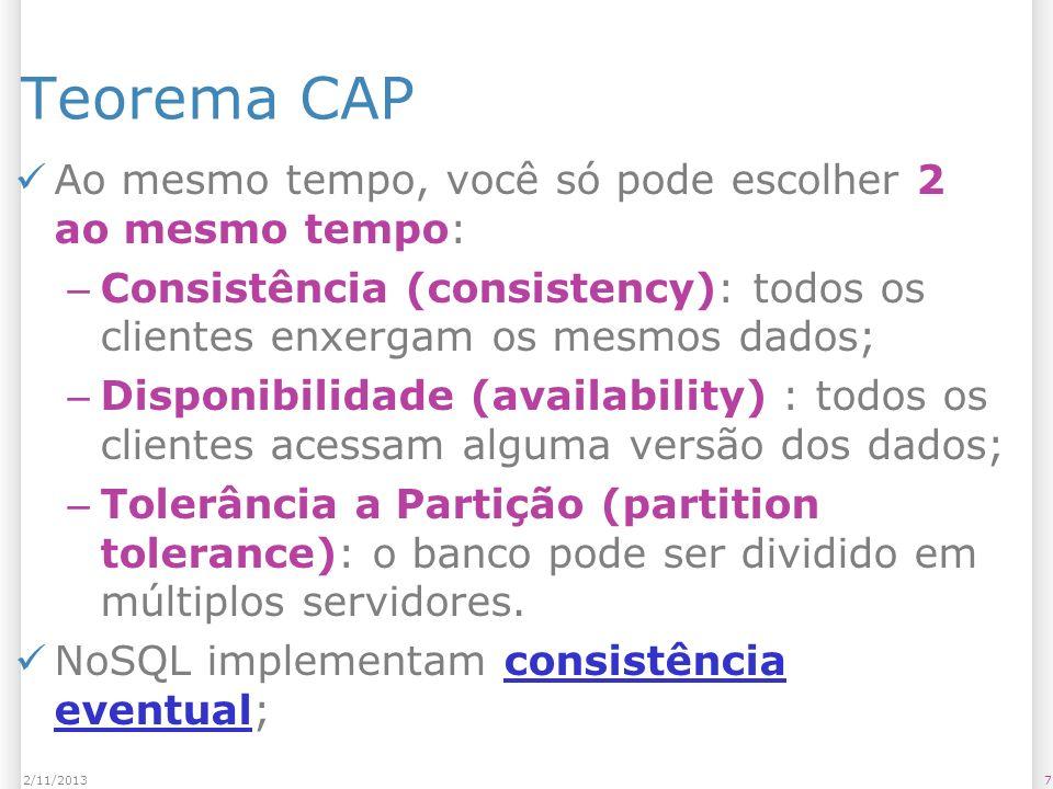 Teorema CAP Ao mesmo tempo, você só pode escolher 2 ao mesmo tempo:
