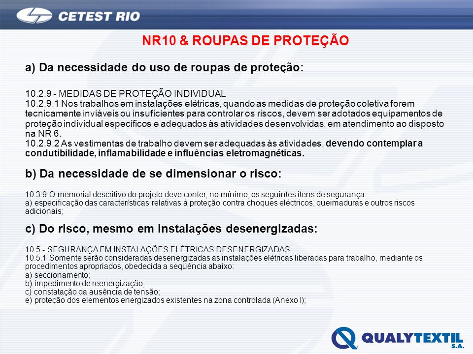 NR10 & ROUPAS DE PROTEÇÃO