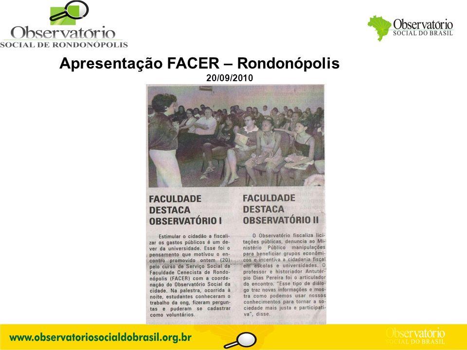 Apresentação FACER – Rondonópolis