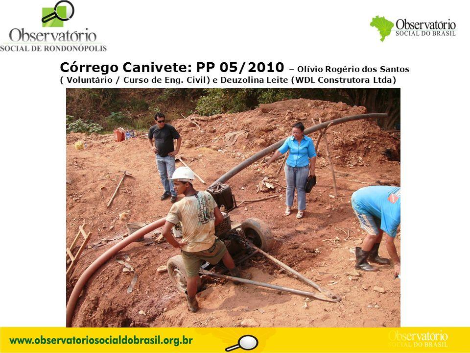 Córrego Canivete: PP 05/2010 – Olívio Rogério dos Santos ( Voluntário / Curso de Eng.