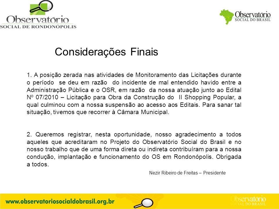 Considerações Finais Nezir Ribeiro de Freitas – Presidente