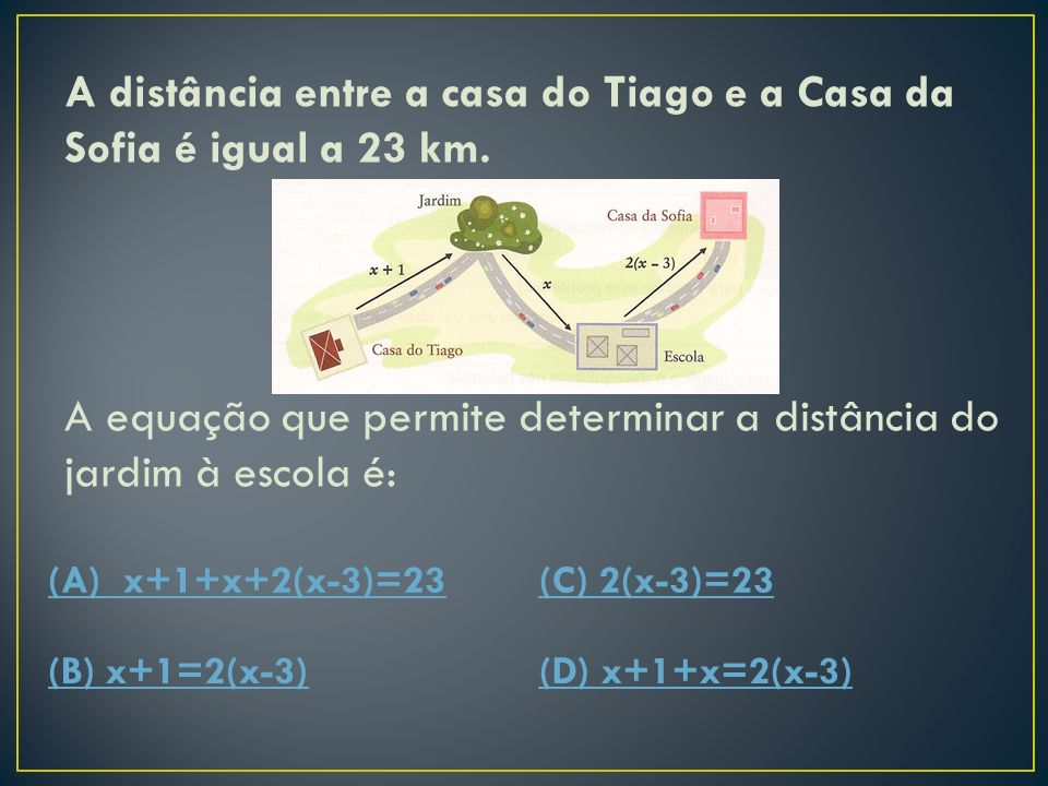 A distância entre a casa do Tiago e a Casa da Sofia é igual a 23 km.