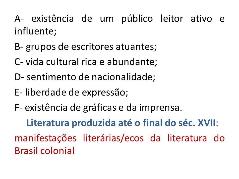 A- existência de um público leitor ativo e influente; B- grupos de escritores atuantes; C- vida cultural rica e abundante; D- sentimento de nacionalidade; E- liberdade de expressão; F- existência de gráficas e da imprensa.