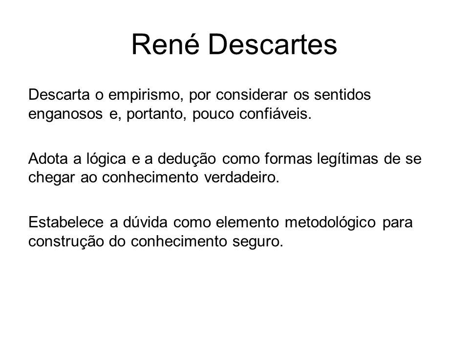 René Descartes Descarta o empirismo, por considerar os sentidos enganosos e, portanto, pouco confiáveis.