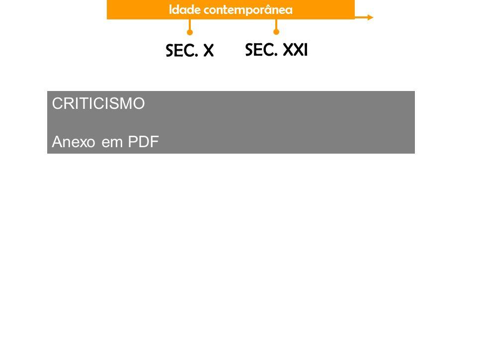 Idade contemporânea SEC. X SEC. XXI CRITICISMO Anexo em PDF