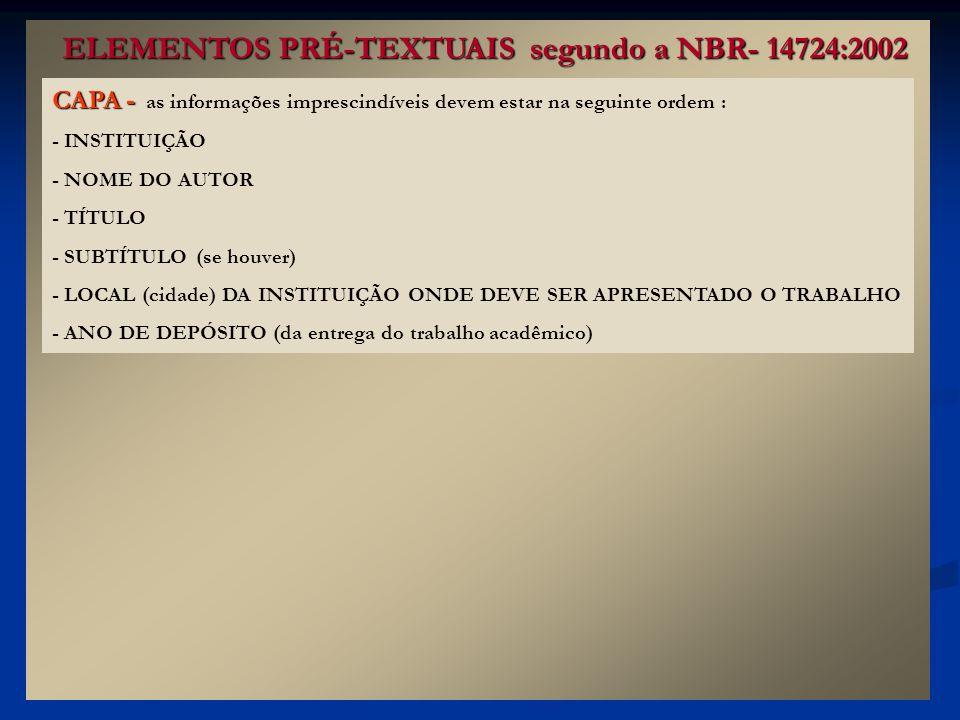 ELEMENTOS PRÉ-TEXTUAIS segundo a NBR- 14724:2002