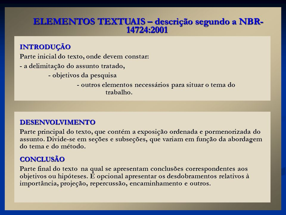 ELEMENTOS TEXTUAIS – descrição segundo a NBR-14724:2001
