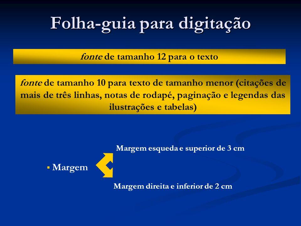 Folha-guia para digitação