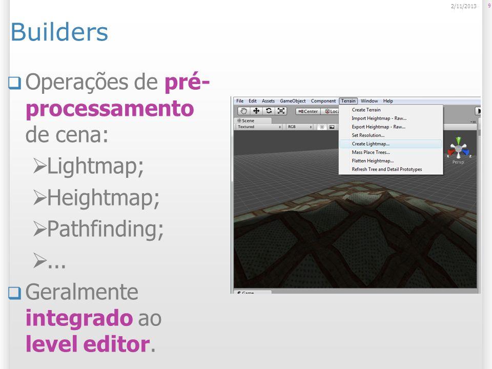 Builders Operações de pré-processamento de cena: Lightmap; Heightmap;