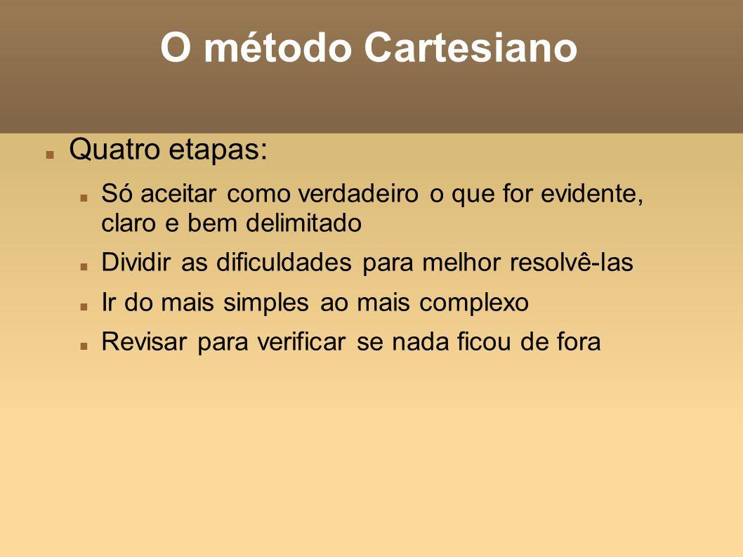 O método Cartesiano Quatro etapas: