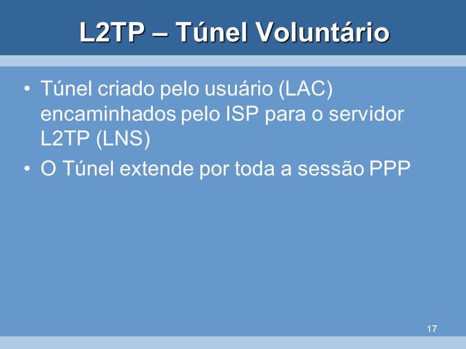 L2TP – Túnel Voluntário Túnel criado pelo usuário (LAC) encaminhados pelo ISP para o servidor L2TP (LNS)