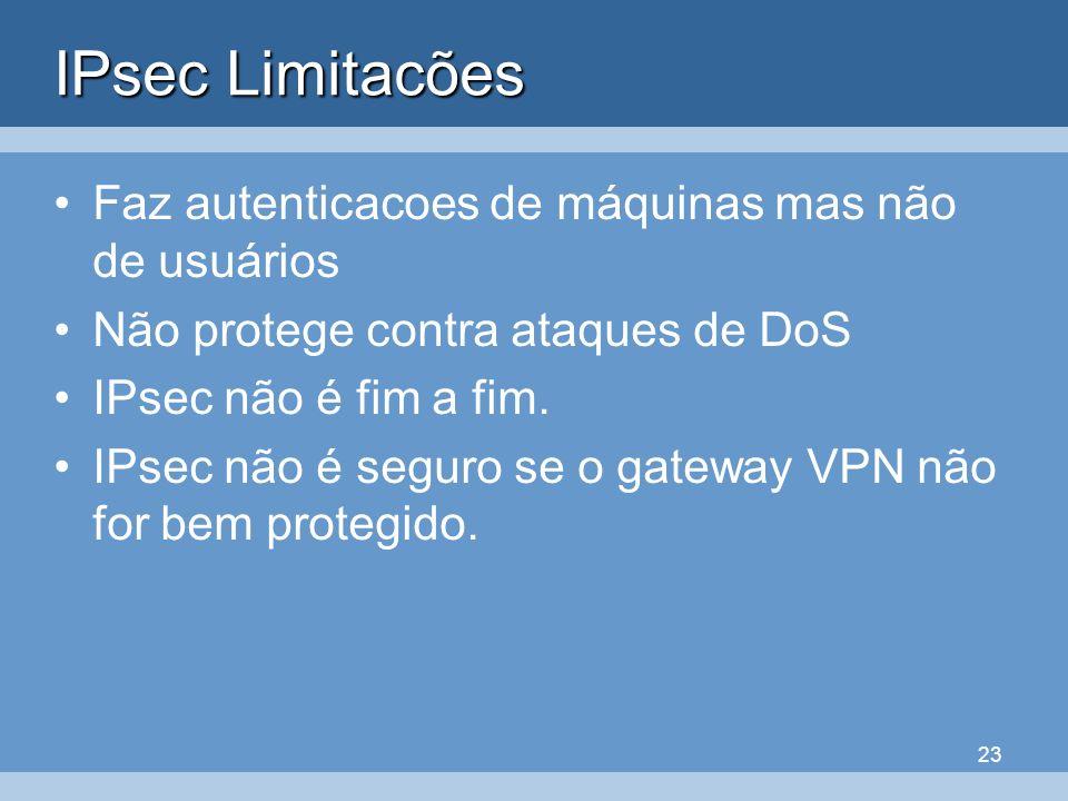 IPsec Limitacões Faz autenticacoes de máquinas mas não de usuários