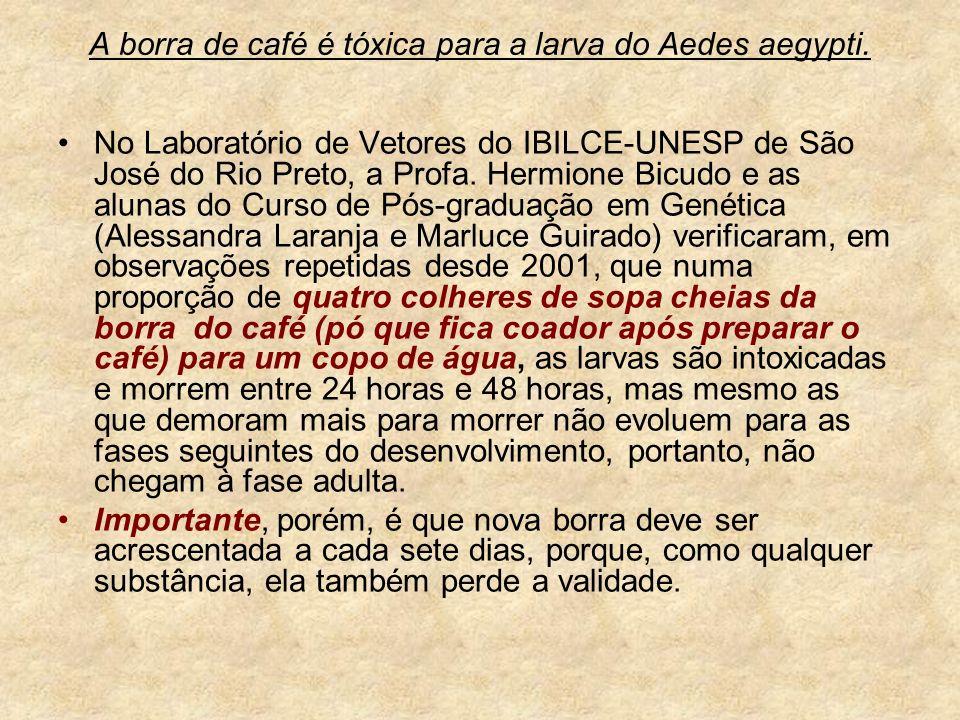 A borra de café é tóxica para a larva do Aedes aegypti.