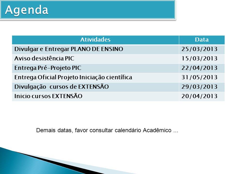 Agenda Atividades Data Divulgar e Entregar PLANO DE ENSINO 25/03/2013