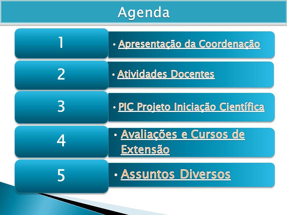Agenda Avaliações e Cursos de Extensão Apresentação da Coordenação 1 2