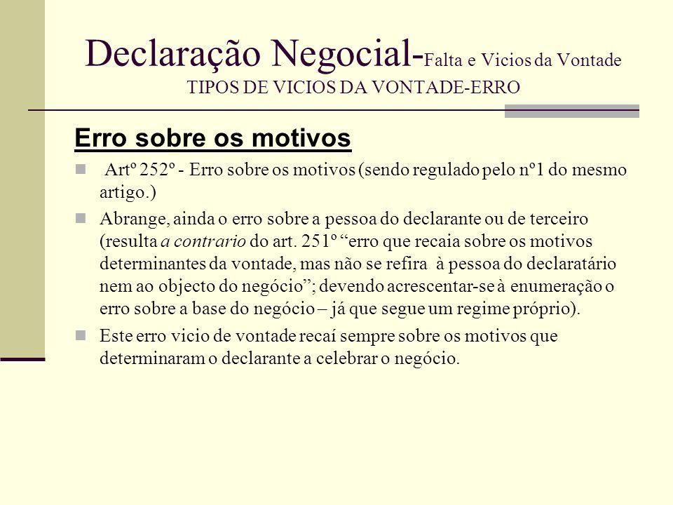 Declaração Negocial-Falta e Vicios da Vontade TIPOS DE VICIOS DA VONTADE-ERRO