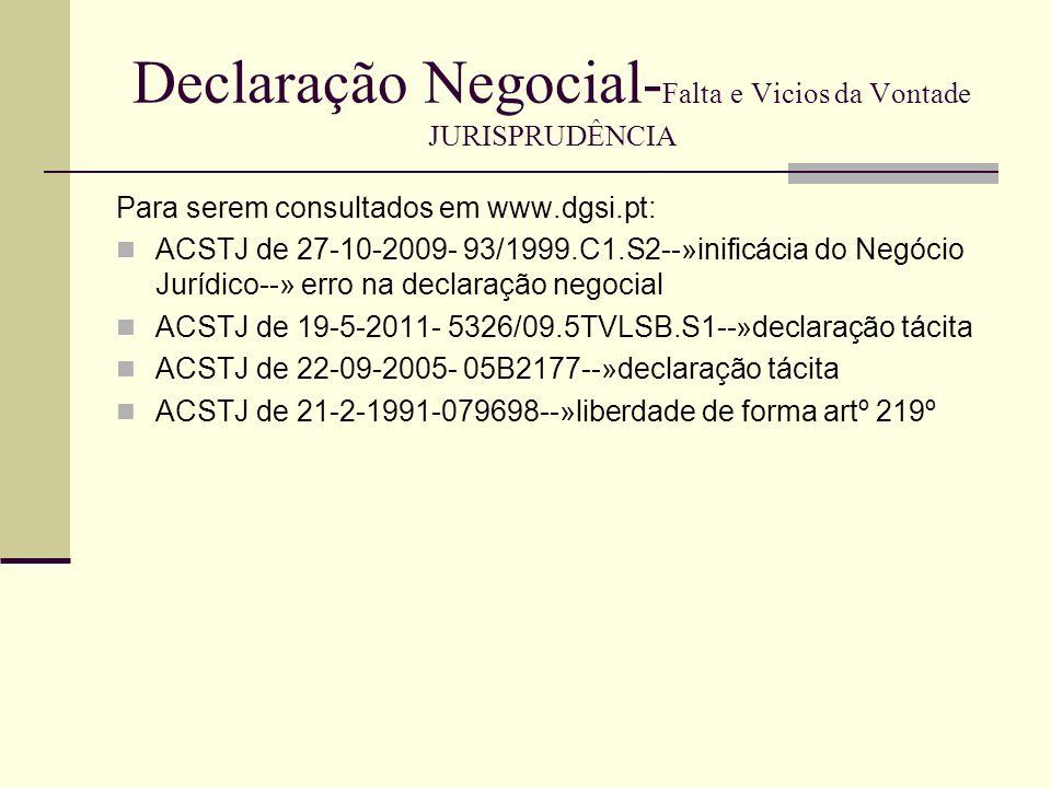 Declaração Negocial-Falta e Vicios da Vontade JURISPRUDÊNCIA