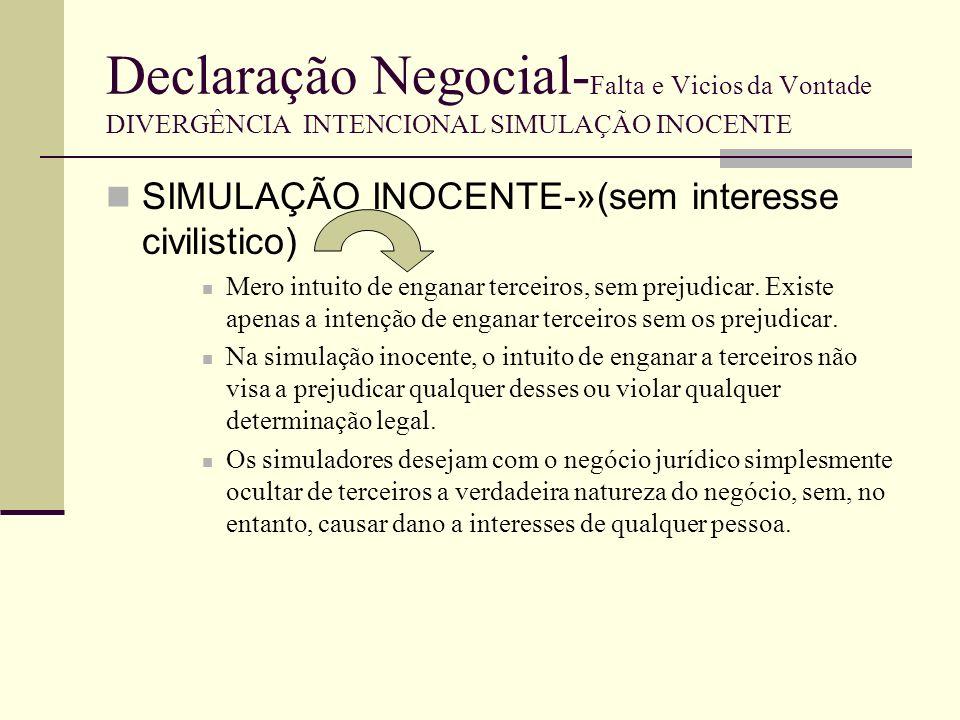 Declaração Negocial-Falta e Vicios da Vontade DIVERGÊNCIA INTENCIONAL SIMULAÇÃO INOCENTE
