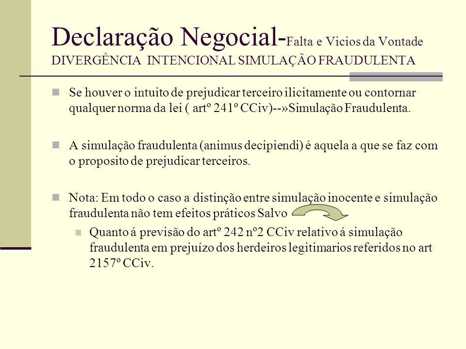 Declaração Negocial-Falta e Vicios da Vontade DIVERGÊNCIA INTENCIONAL SIMULAÇÃO FRAUDULENTA