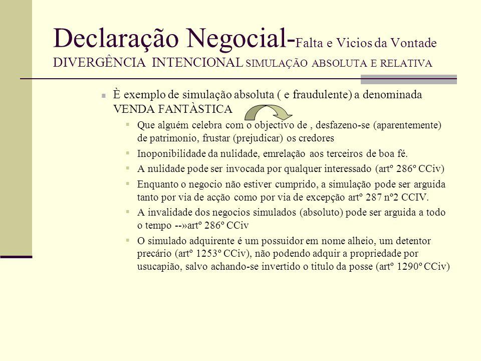 Declaração Negocial-Falta e Vicios da Vontade DIVERGÊNCIA INTENCIONAL SIMULAÇÃO ABSOLUTA E RELATIVA
