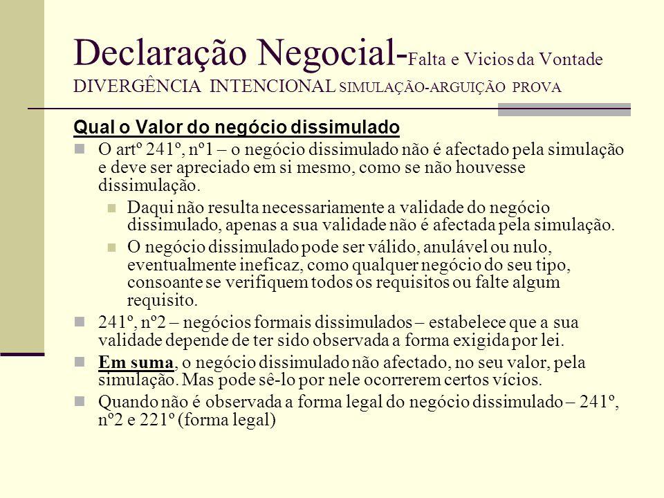 Declaração Negocial-Falta e Vicios da Vontade DIVERGÊNCIA INTENCIONAL SIMULAÇÃO-ARGUIÇÃO PROVA
