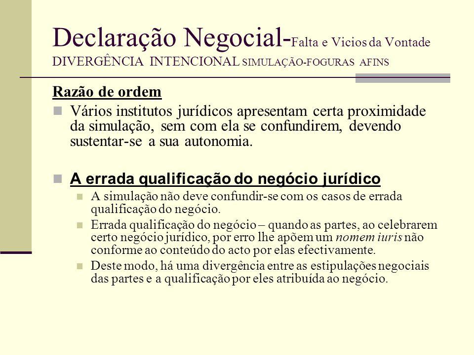 Declaração Negocial-Falta e Vicios da Vontade DIVERGÊNCIA INTENCIONAL SIMULAÇÃO-FOGURAS AFINS