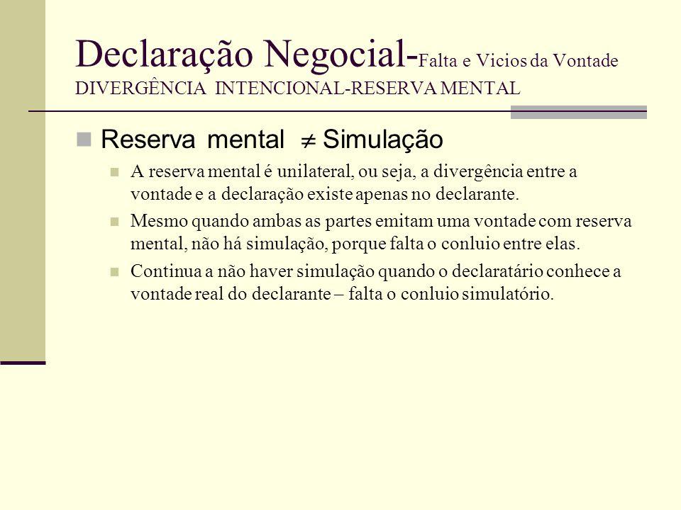 Declaração Negocial-Falta e Vicios da Vontade DIVERGÊNCIA INTENCIONAL-RESERVA MENTAL