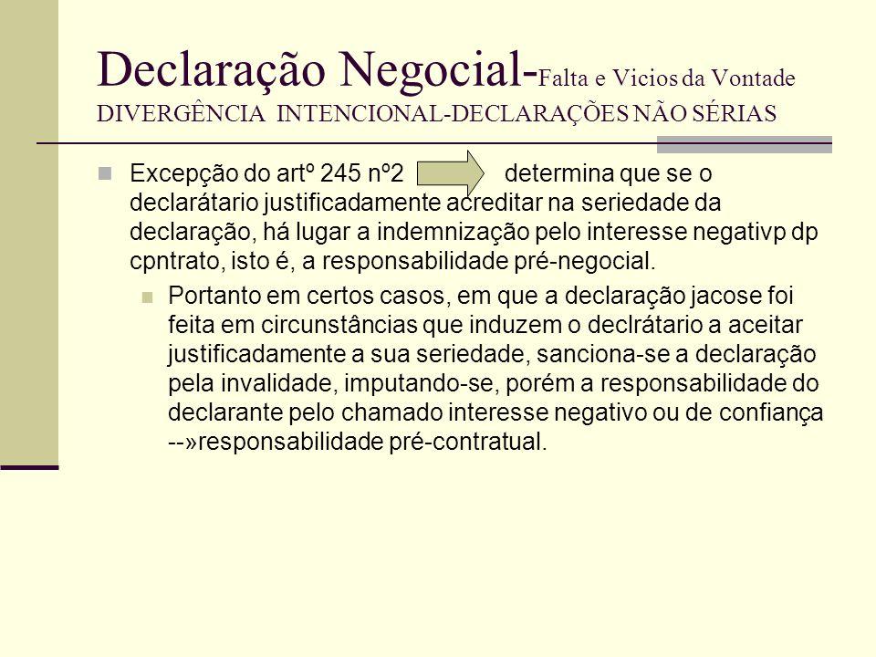 Declaração Negocial-Falta e Vicios da Vontade DIVERGÊNCIA INTENCIONAL-DECLARAÇÕES NÃO SÉRIAS