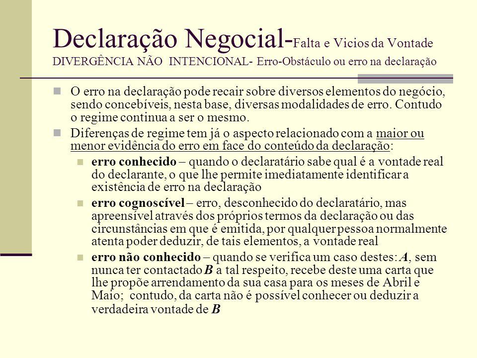 Declaração Negocial-Falta e Vicios da Vontade DIVERGÊNCIA NÃO INTENCIONAL- Erro-Obstáculo ou erro na declaração