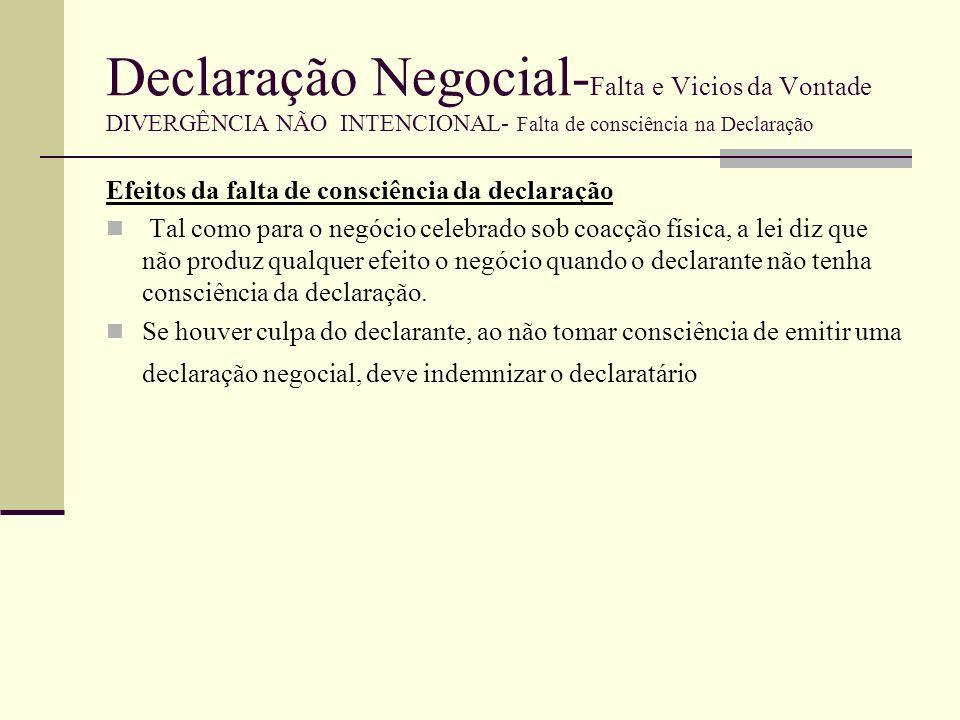 Declaração Negocial-Falta e Vicios da Vontade DIVERGÊNCIA NÃO INTENCIONAL- Falta de consciência na Declaração