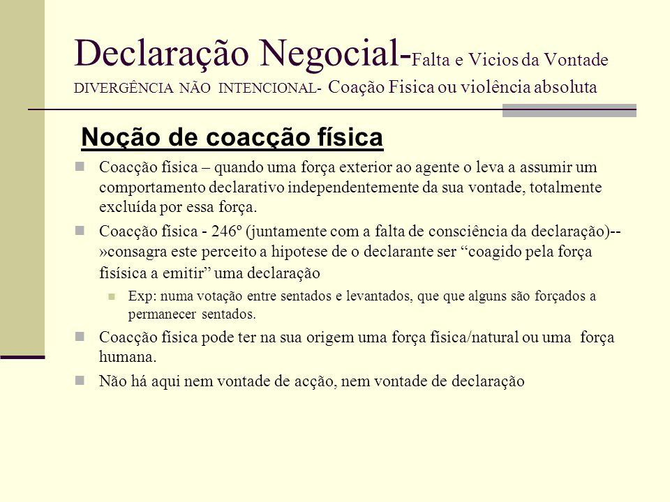 Declaração Negocial-Falta e Vicios da Vontade DIVERGÊNCIA NÃO INTENCIONAL- Coação Fisica ou violência absoluta