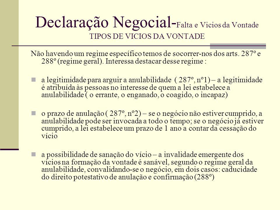 Declaração Negocial-Falta e Vicios da Vontade TIPOS DE VICIOS DA VONTADE