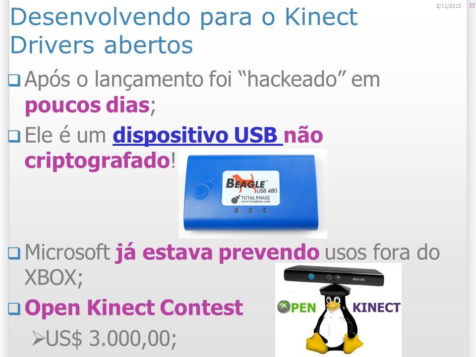 Desenvolvendo para o Kinect Drivers abertos