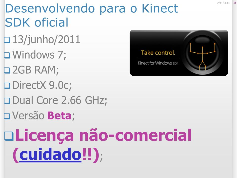 Desenvolvendo para o Kinect SDK oficial
