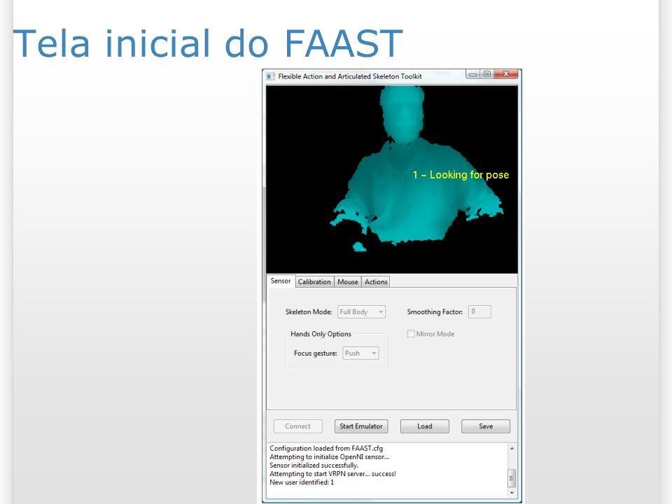 Tela inicial do FAAST