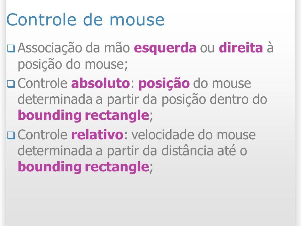 Controle de mouse Associação da mão esquerda ou direita à posição do mouse;