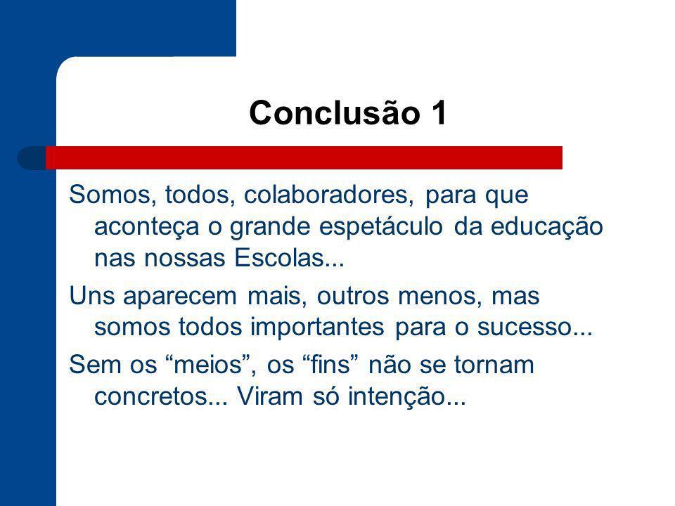 Conclusão 1Somos, todos, colaboradores, para que aconteça o grande espetáculo da educação nas nossas Escolas...