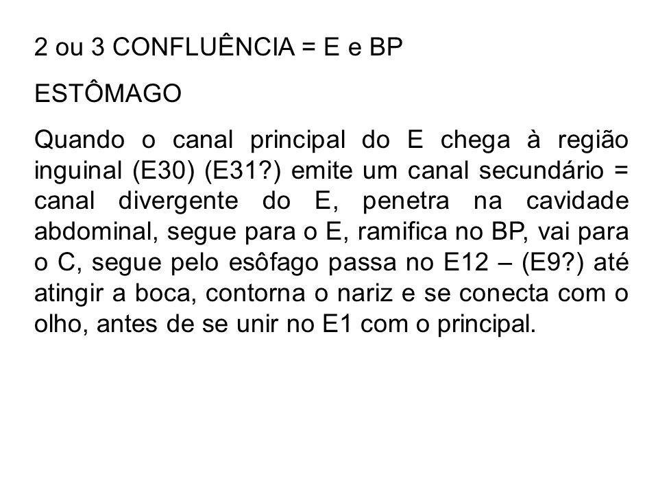 2 ou 3 CONFLUÊNCIA = E e BP ESTÔMAGO.