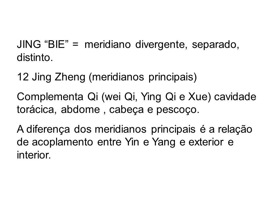 JING BIE = meridiano divergente, separado, distinto.