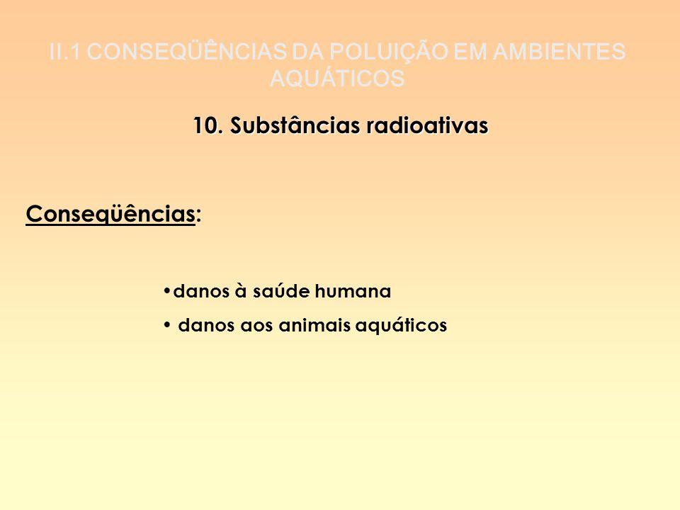 II.1 CONSEQÜÊNCIAS DA POLUIÇÃO EM AMBIENTES AQUÁTICOS