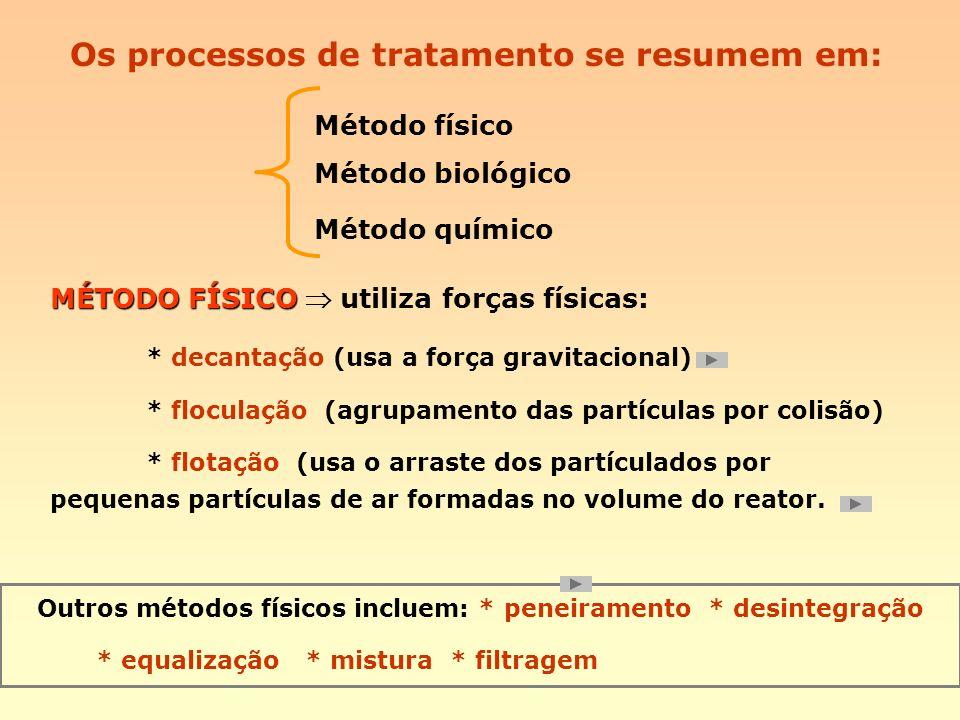 Os processos de tratamento se resumem em: