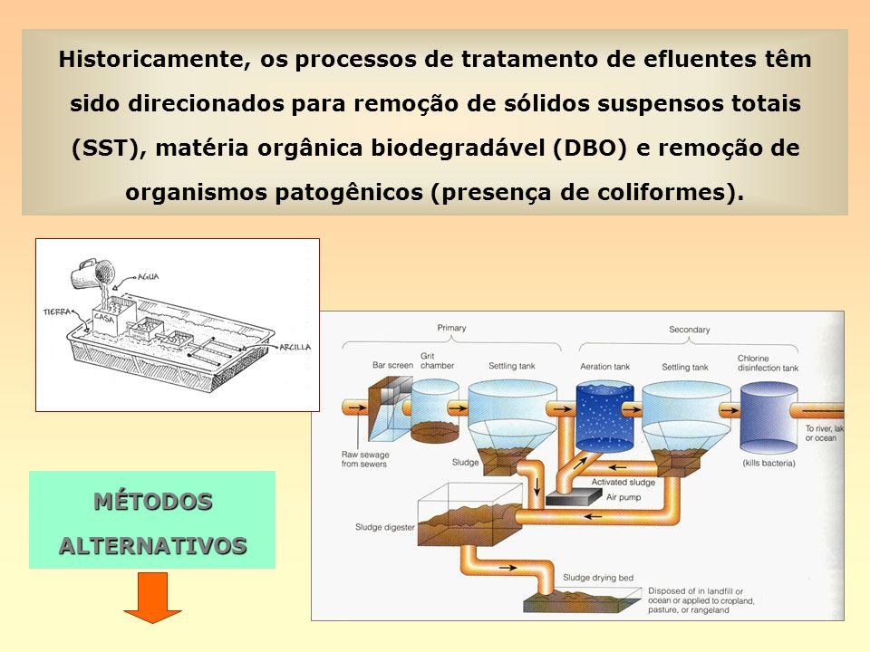 Historicamente, os processos de tratamento de efluentes têm sido direcionados para remoção de sólidos suspensos totais (SST), matéria orgânica biodegradável (DBO) e remoção de organismos patogênicos (presença de coliformes).