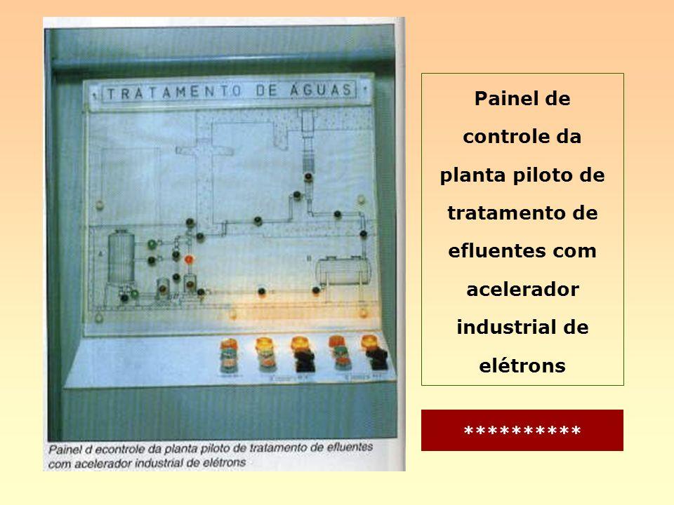 Painel de controle da planta piloto de tratamento de efluentes com acelerador industrial de elétrons