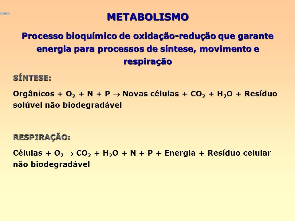 METABOLISMO Processo bioquímico de oxidação-redução que garante energia para processos de síntese, movimento e respiração.