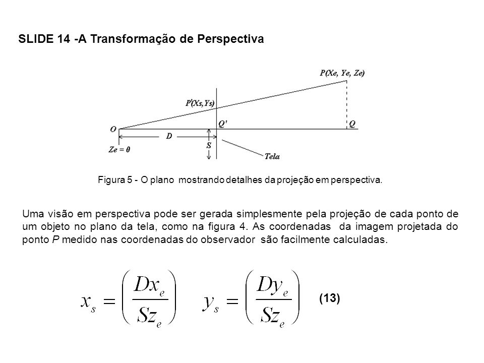 Figura 5 - O plano mostrando detalhes da projeção em perspectiva.