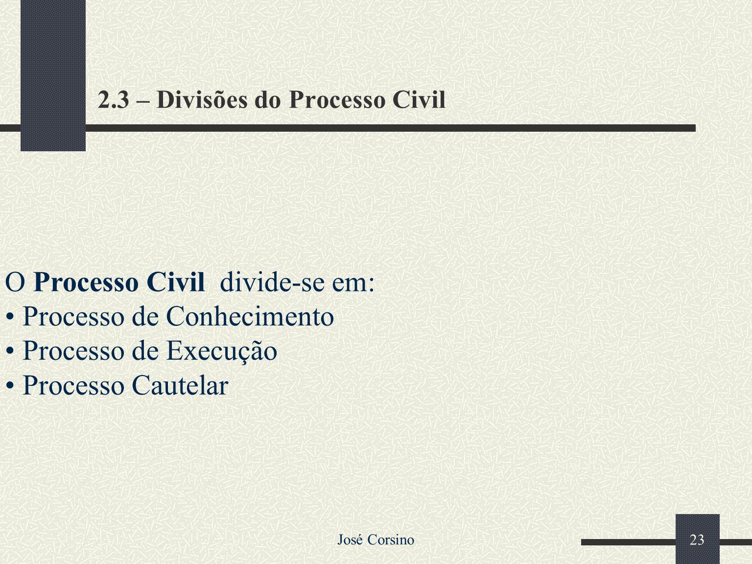 2.3 – Divisões do Processo Civil