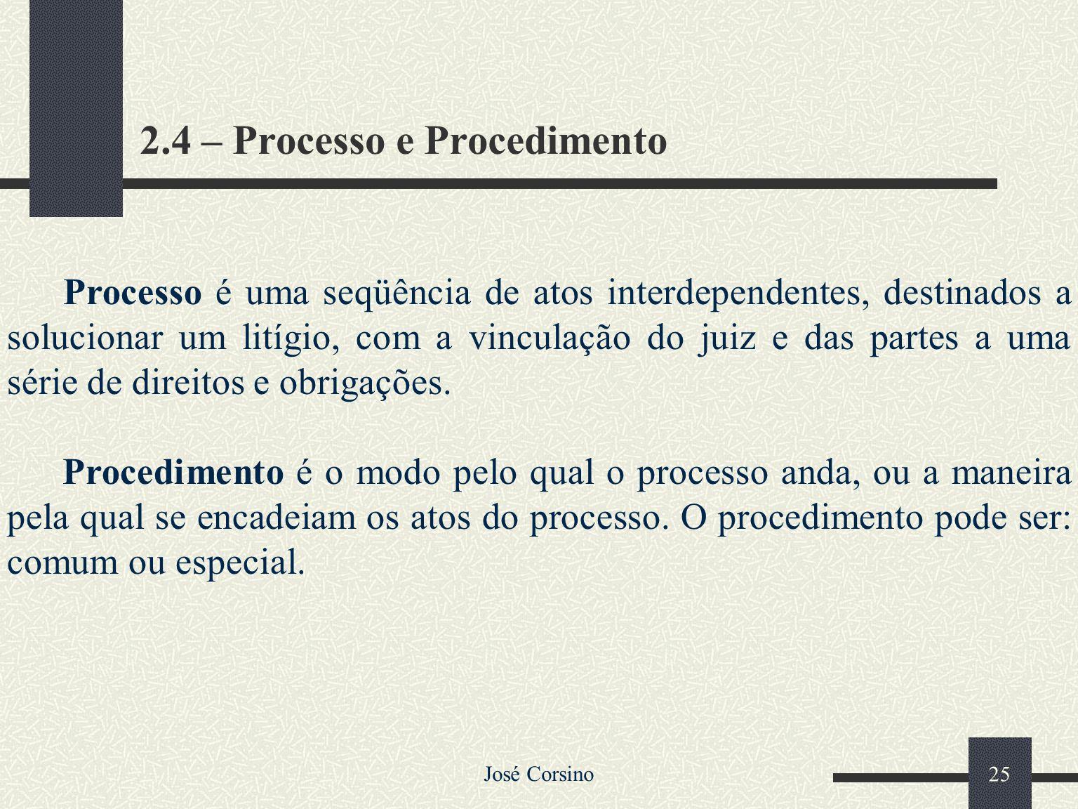 2.4 – Processo e Procedimento