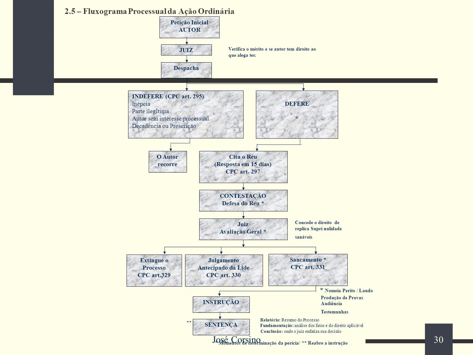 2.5 – Fluxograma Processual da Ação Ordinária