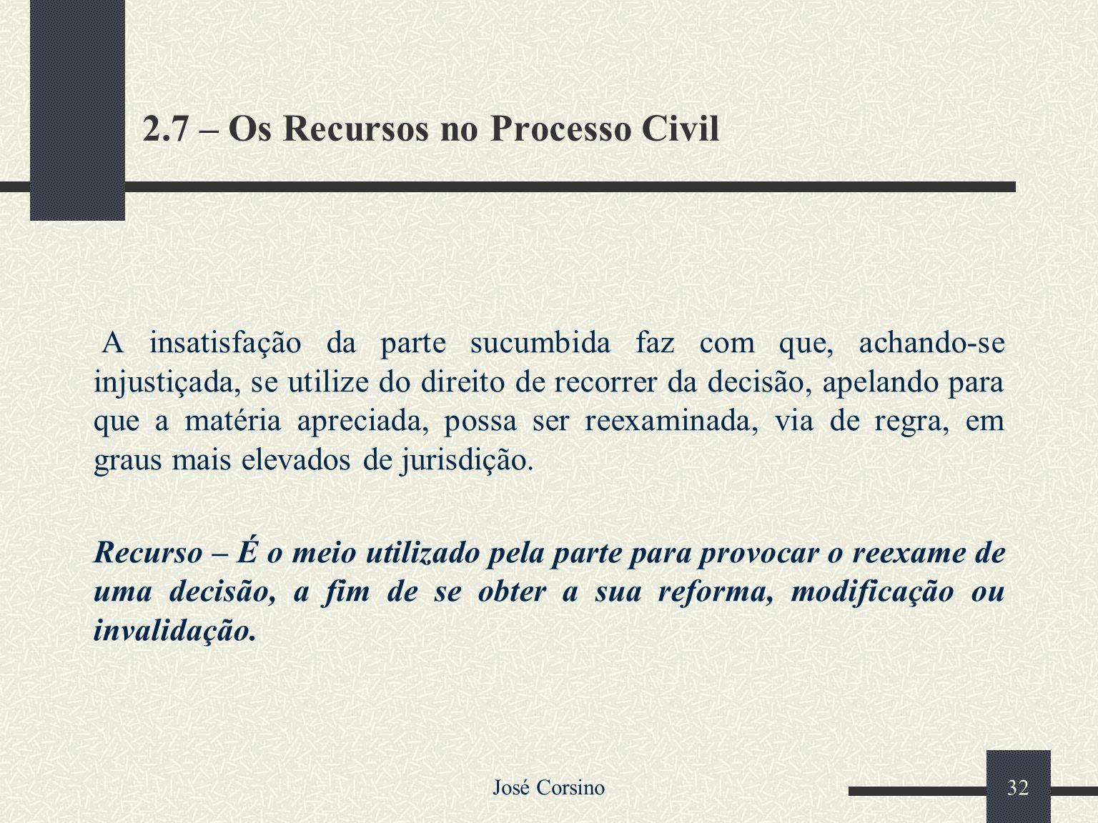 2.7 – Os Recursos no Processo Civil